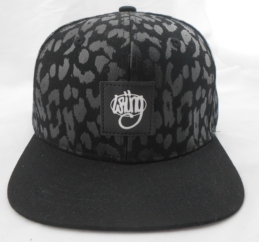 Design your own printing snapback hat front leather patch logo snapback hats caps