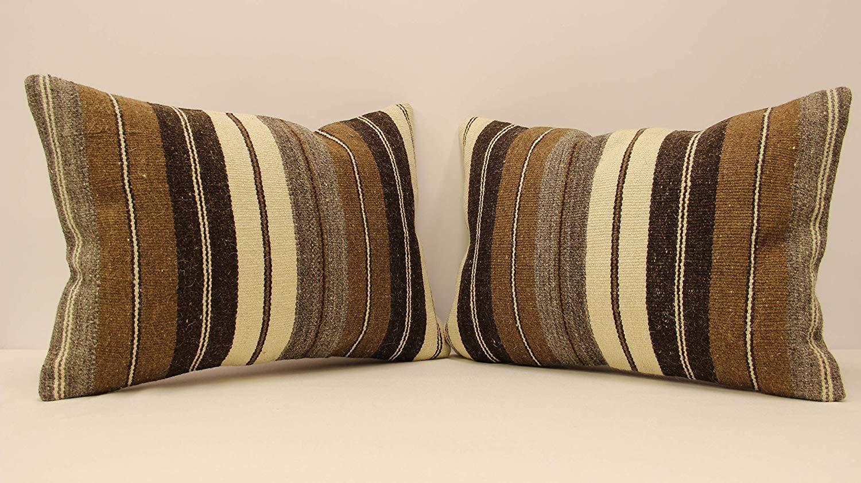 35x35 cm Home Decor Pillow Mn35x35-101 Striped Outdoor Pillow Beige Pillow Cover Turkish Pillow 14x14 Pillow Cover Anatolian Pillow