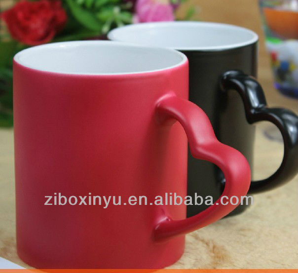 11oz Matt Finished Red blank Magic mugs with heart handle FOR ZIBO XINYU