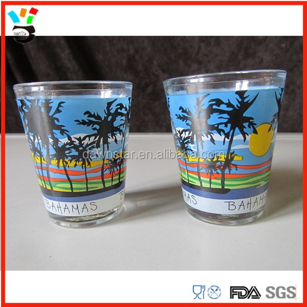 tourist souvenirs bahamas design 1.5 oz shot <strong>glass</strong> wholesale