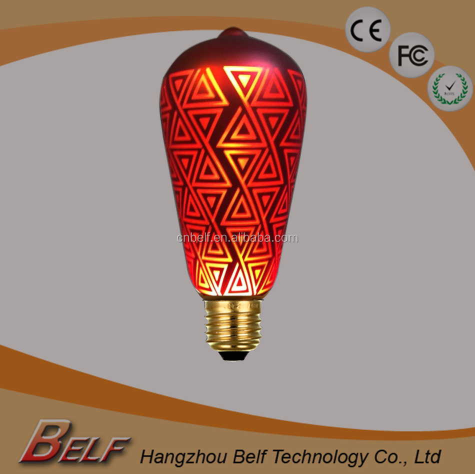 Red Royal Gold Color Painting Pattern LED laser Holiday Bulb E26 E27 B22 Unique Beautiful Indoor Outdoor Soft Light