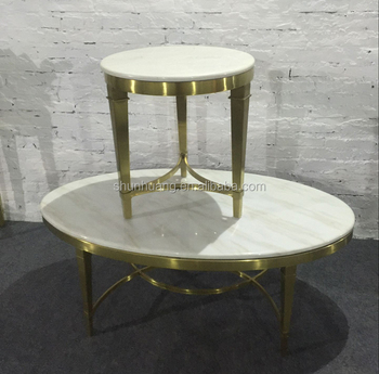 Gold Color Oval Shape Coffee Table Marble Top Stainless Steel Side - Oval shaped marble coffee table