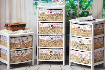 Wooden Storage Cabinet With Wicker Basket Drawer In Living Room ...
