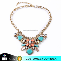 promotion gift fashion sky blue crystal pendant neckalce online retail store