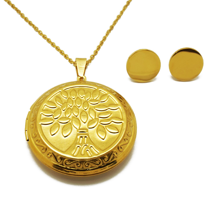 Olivia New Fashion Costume 18k Gold Jewelry Sets Locket Tree Of Life Necklace Set Women