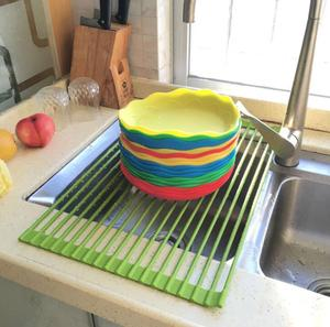 Dish Drying Rack Over-The-Sink Folding Dish Drainer for Kitchen Use Drying Mat