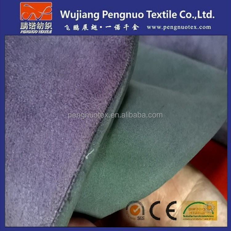 Shoe fabric/the warp knitting faux suede laminated with EVA foam coated 2mm for shoe sole material