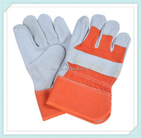 Superior quality cow grain leather driver glove,Safety stripe spilt double leather palm working glove