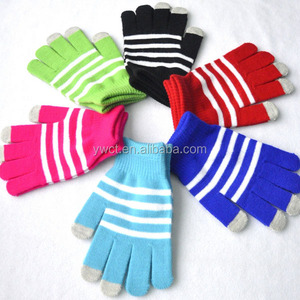 Soft Touch Unisex Thinsulate Gloves Knit Striped Touch Screen Tips Gloves