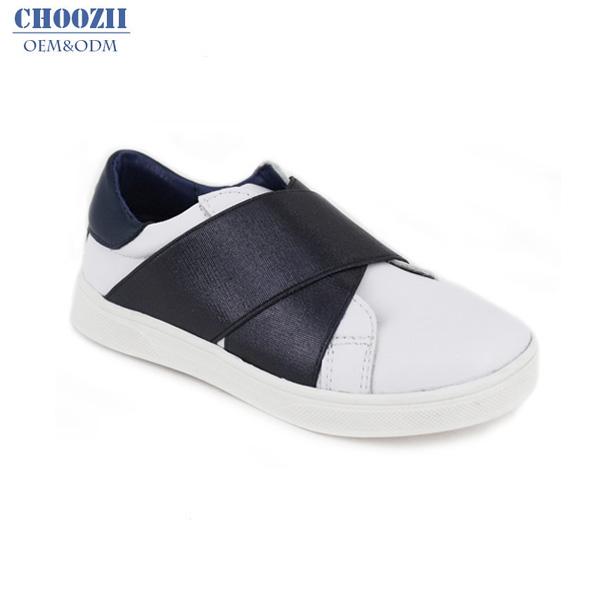 Choozii Modische Private Label Criss kreuz Gurte Elastische Weiß Leder Kinder Turnschuhe Schuhe