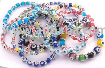 Evil Eye Gl Bracelet With Cz Cubic Zirconia Crystals Lucky Bead