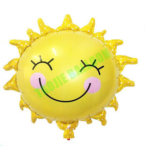 28 Inch Sunshine Sun Smile Face Shaped Foil Mylar Balloons Helium Balloon