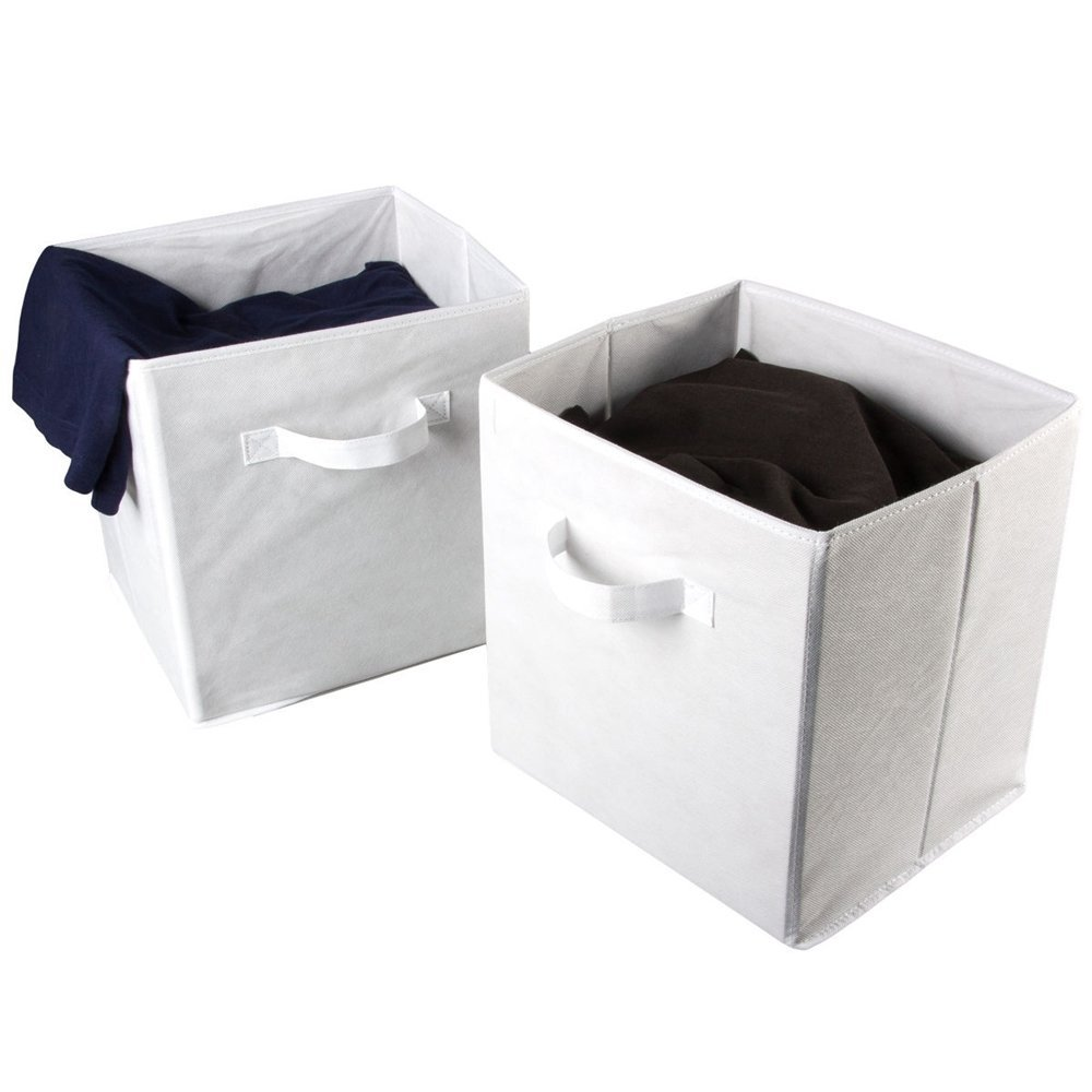 Beau 2 Large Foldable Fabric Storage Bins Cubes Home Organization Organizer  Baskets White