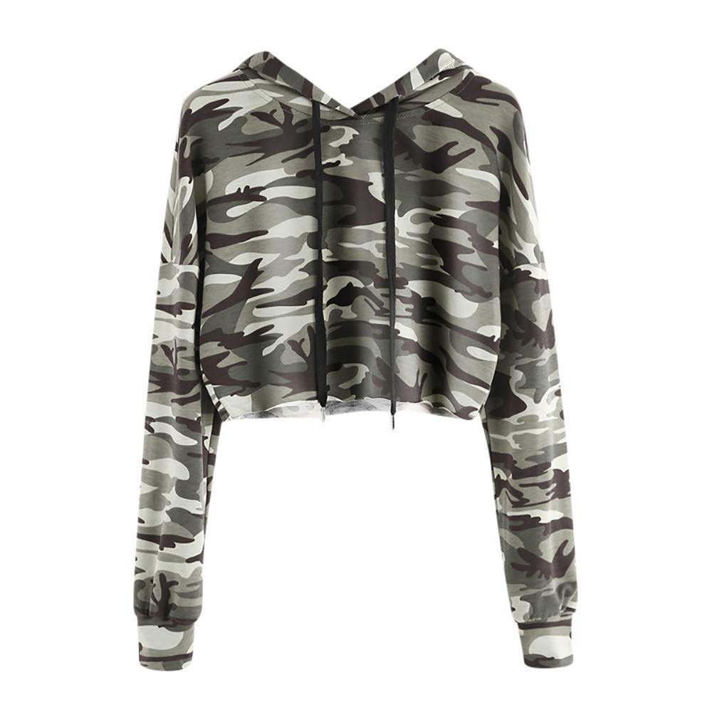 Womens Tops Clearance Shirt Women's Hoodie Camouflage Printed Sweatshirt Long Sleeve Pullover Tops Blouse
