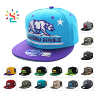 Twill cotton snapback hat new style plain sports hats with 3D embroidery label California Republic era baseball cap