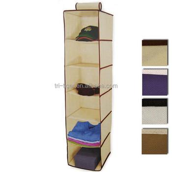 Bon 6 Shelf Hanging Wardrobe Sweater Organizer Wall Pocket Storage Organizer  Cloth Bag Blanket Box Closet