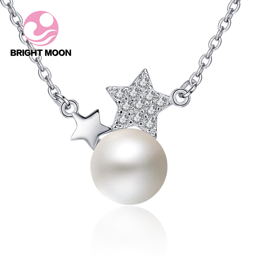 New Arrival 100% Real Star 925 Sterling Silver single Pearl Pendant Necklaces For Women Luxury Brand Jewelry Lover Gift