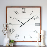Vintage wall clock square white clock white rustic clock living room wall decoration