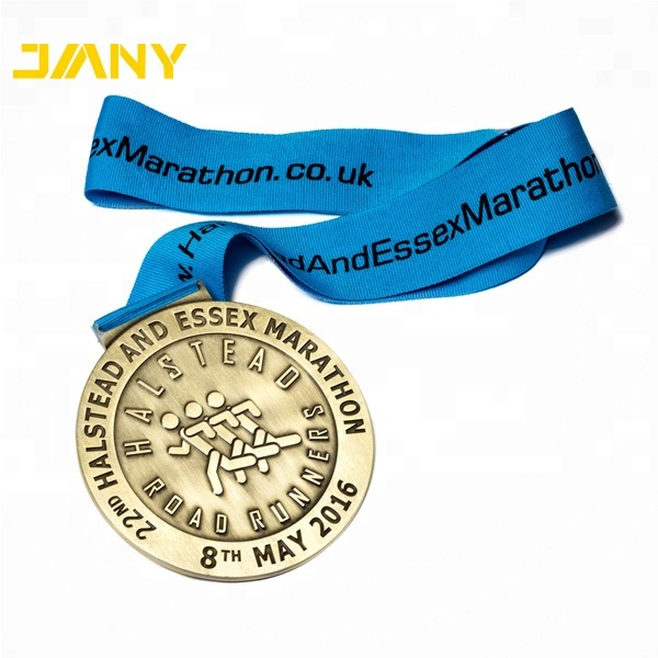 Antique Gold Custom <strong>Metal</strong> Embossed Logo Halstead Road Runners Running Sports Medal With Ribbon