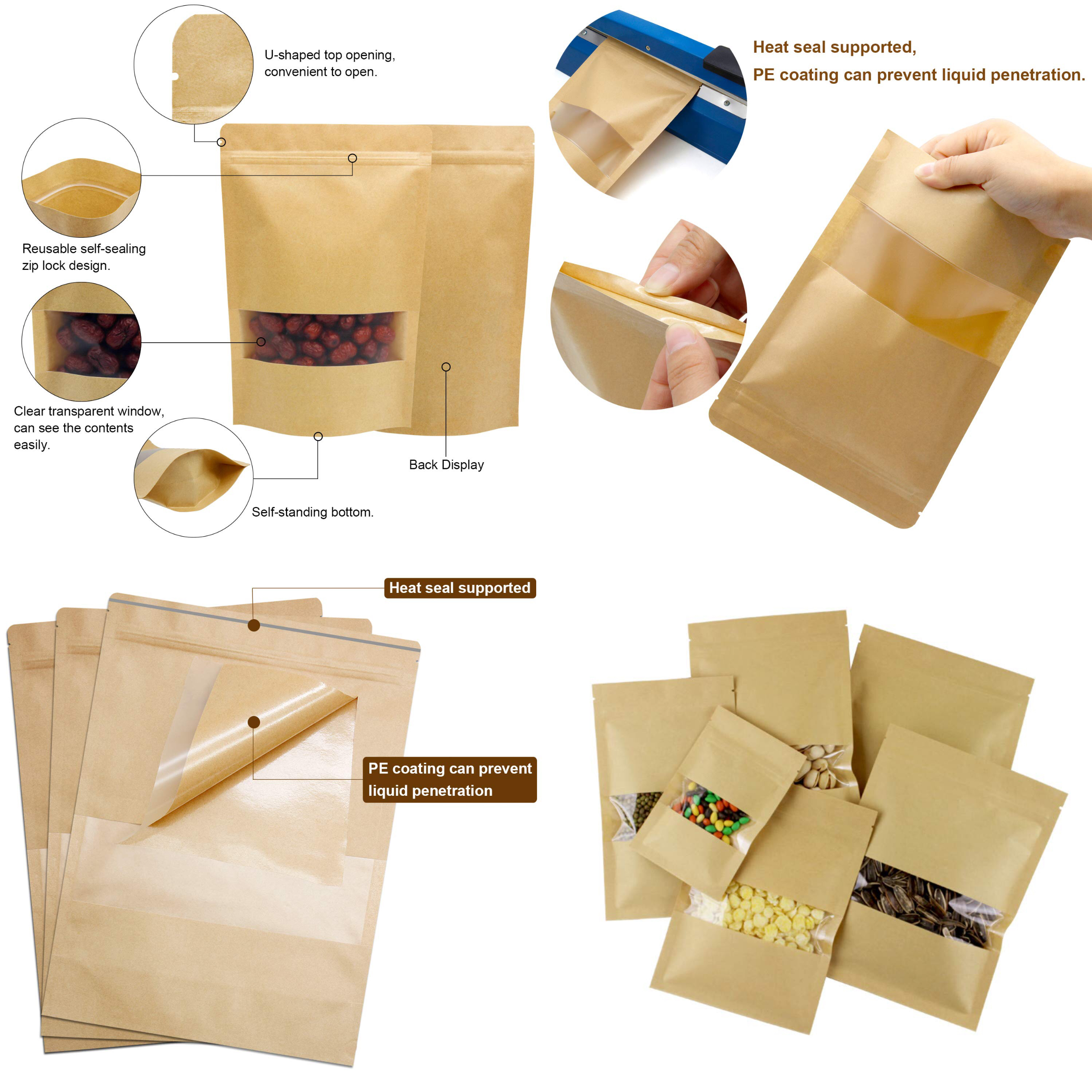 Wholesale  food snack candy packaging stand up foilned line kraft paper bag with window