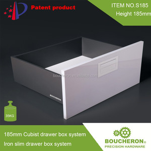 185 height Iron slim drawer box system (Cubist drawer box system) with AS3116 full extension concealed slides