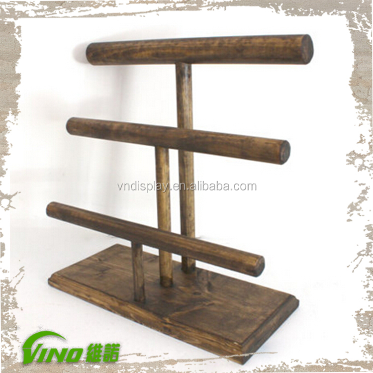 Multi Layer Wooden Jewelry Showcase Display Stand Rack