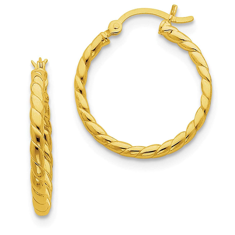 10KT GOLD INTERWOVEN PLAIN//TWISTED TUBE 20MM HOOP EAR HOOP EARRINGS