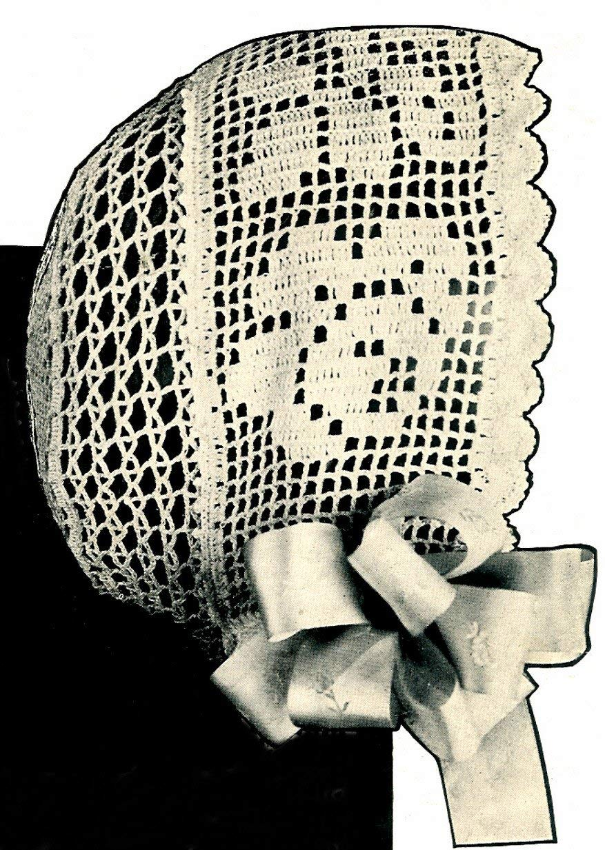 Vintage Crochet PATTERN to make - Crocheted Antique Baby Cap Hat Bonnet Filet Rose. NOT a finished item. This is a pattern and/or instructions to make the item only.
