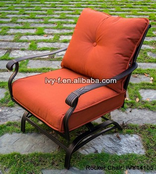 Patio Metal Chair Cast Aluminum Deep Seat Rocker Club Chair With Thick Seat  Cushion Padded Slatted Part 87