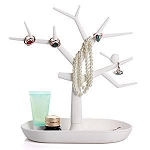 Ioffersuper Multifunctional Tree Branch Shape Earring Jewelry Display Stand Holder White