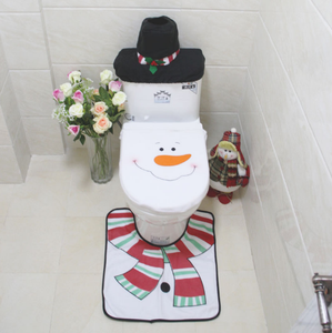 SPWE-418 Christmas Decoration Santa Snowman Toilet Seat Cover Bathroom Set