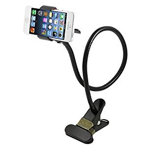 OHCOME 360 degree Rotation Universal Flexible Long Arms Mobile Cell Phone Clip Bed Holder with Stick-on Mount + Gooseneck One Clip Clamp Mount Holder Bracket Stand, Lazy Beside on Bed, Car, Bedroom, Kitchen, Office, Desk, Dashboard, Windshield, Bathroom for iPhone4 / 5 / 5S, Samsung Galaxy S3 S4