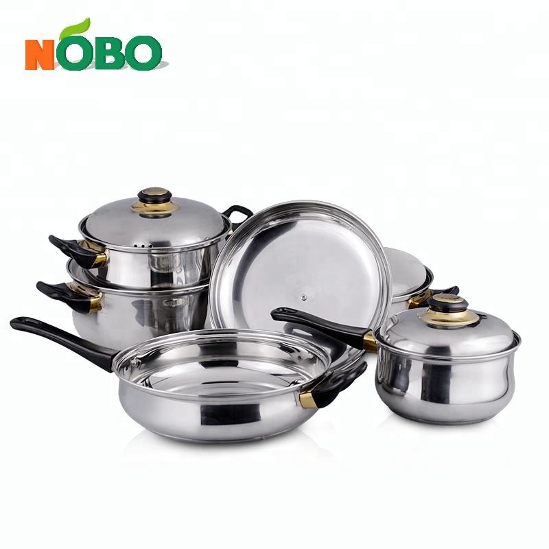 Gift Box Packaging 12pcs Induction Stainless Steel Cookware Sets Non Stick