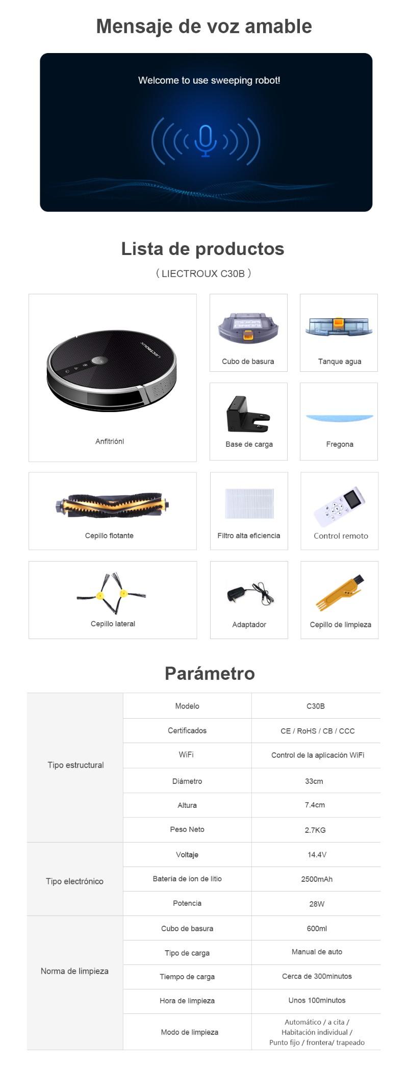 LIECTROUX  Aspirador robot C30B, succión 3000Pa, navegación de mapas 2D, con memoria, aplicación WiFi, tanque de agua eléctrico