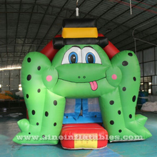Commercial kids frog inflatable bounce house with rain cover for indoor inflatable playground entertainment