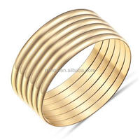 Stainless Steel Cuff Bracelet Set 6 PCS Gold Plated High Polished for Fashion Women