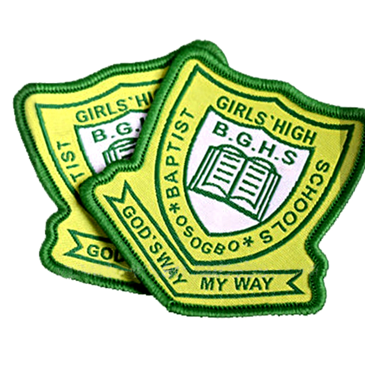 Badge Woven Merrow Custom Name Logo Machine Woven Badges for School Uniform Clothing and Bag