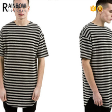 2016 Summer Long Style Rounded Hem swag striped T Shirt Men