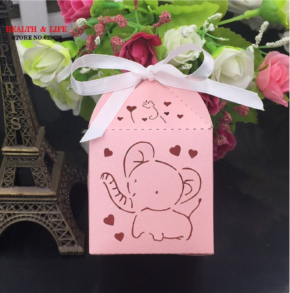 50Pcs Baby Shower Gift Box Birthday Party Decor Party Supplies Decoration Wedding Candy Chocolate Box Guests Cartoon Elephant (Pink)