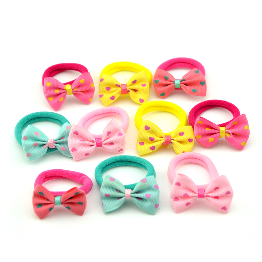 10 Pcs Lot Baby Girl Hair Rope Heart Star Dot Bow Elastic Hair Bands Strawberry Rubber