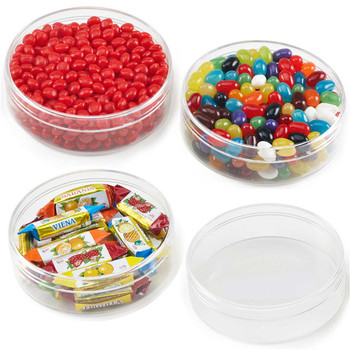 Clear round acrylic food storage