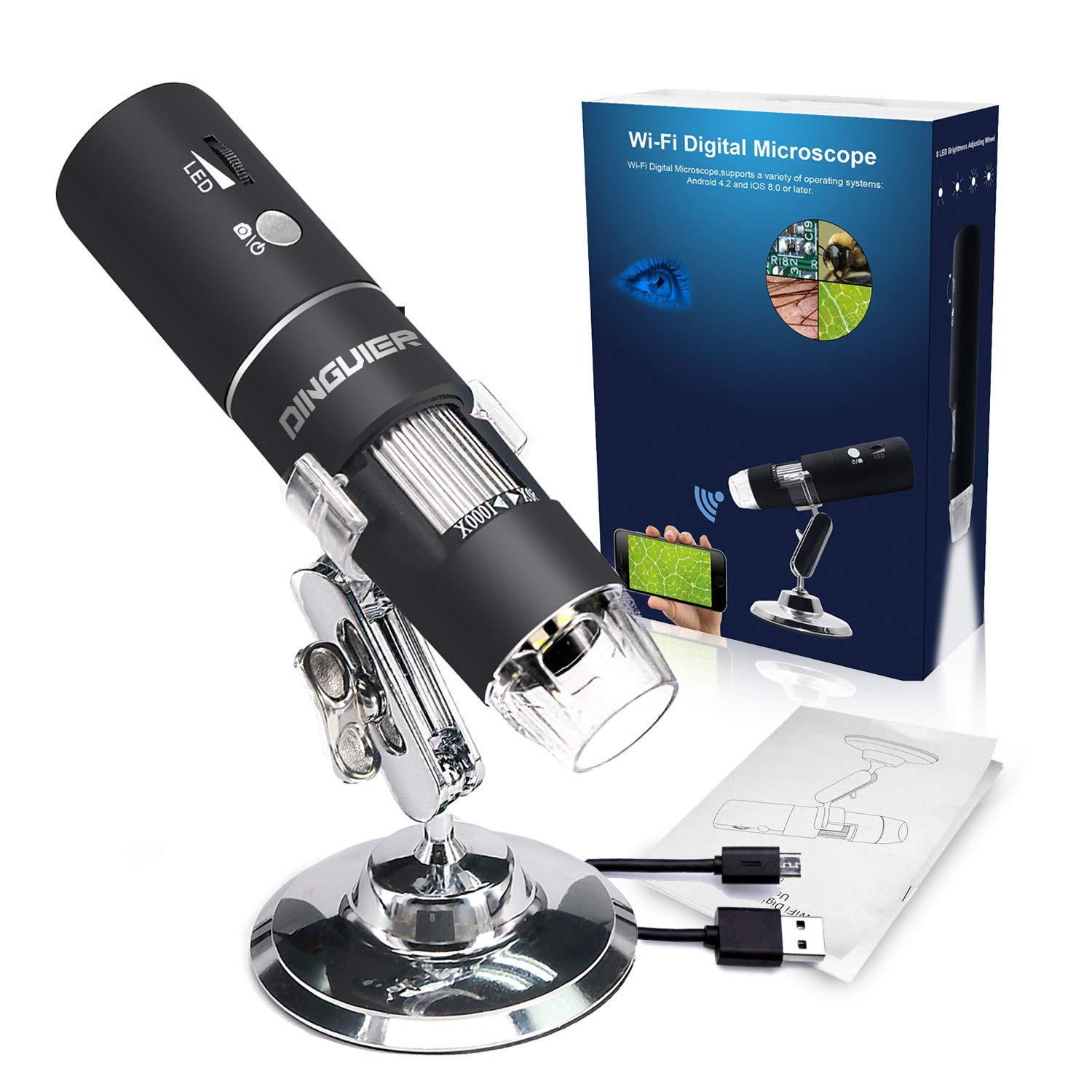GOTOTOP Digital Microscope Portable Handheld Electronic 1000X Zoom 8 LED USB Microscope Magnifier Endoscope Mini Camera with Metal Stand for Industrial Testing