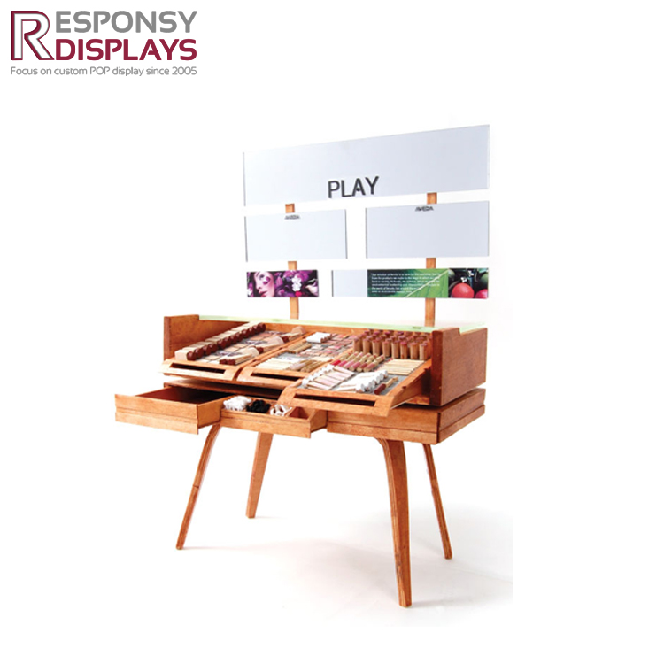 Fashionable trend wooden floor cosmetic display exhibition stand