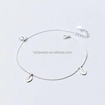 53046a9cdd0a El más popular nuevo 925 italiano pulseras de cadena de plata pequeña hoja  en forma de