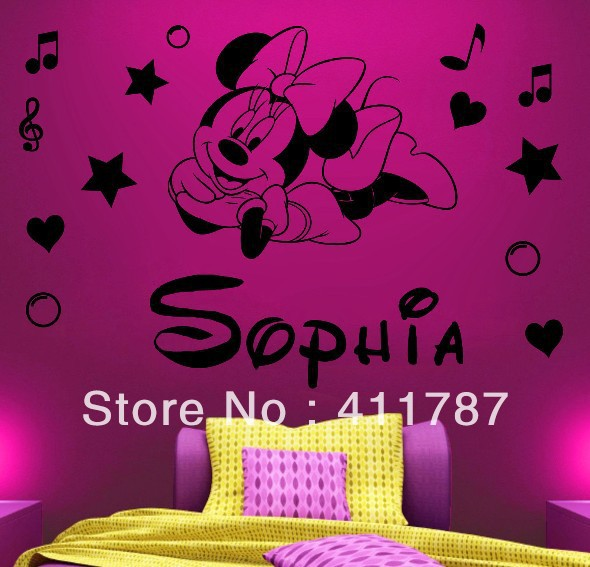 free shipping home decor personalised name minnie mouse girls bedroom wall stickers in wall. Black Bedroom Furniture Sets. Home Design Ideas