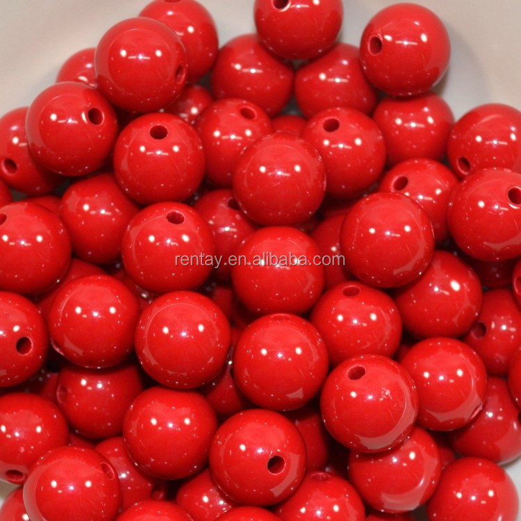 Online Sale Big Chunky Round Charm Colorful Red Acrylic Beads