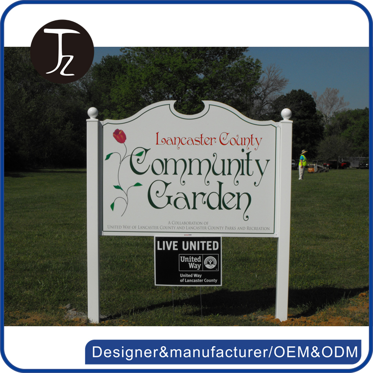 Factory customized outdoor stand metal/acrylic garden sign