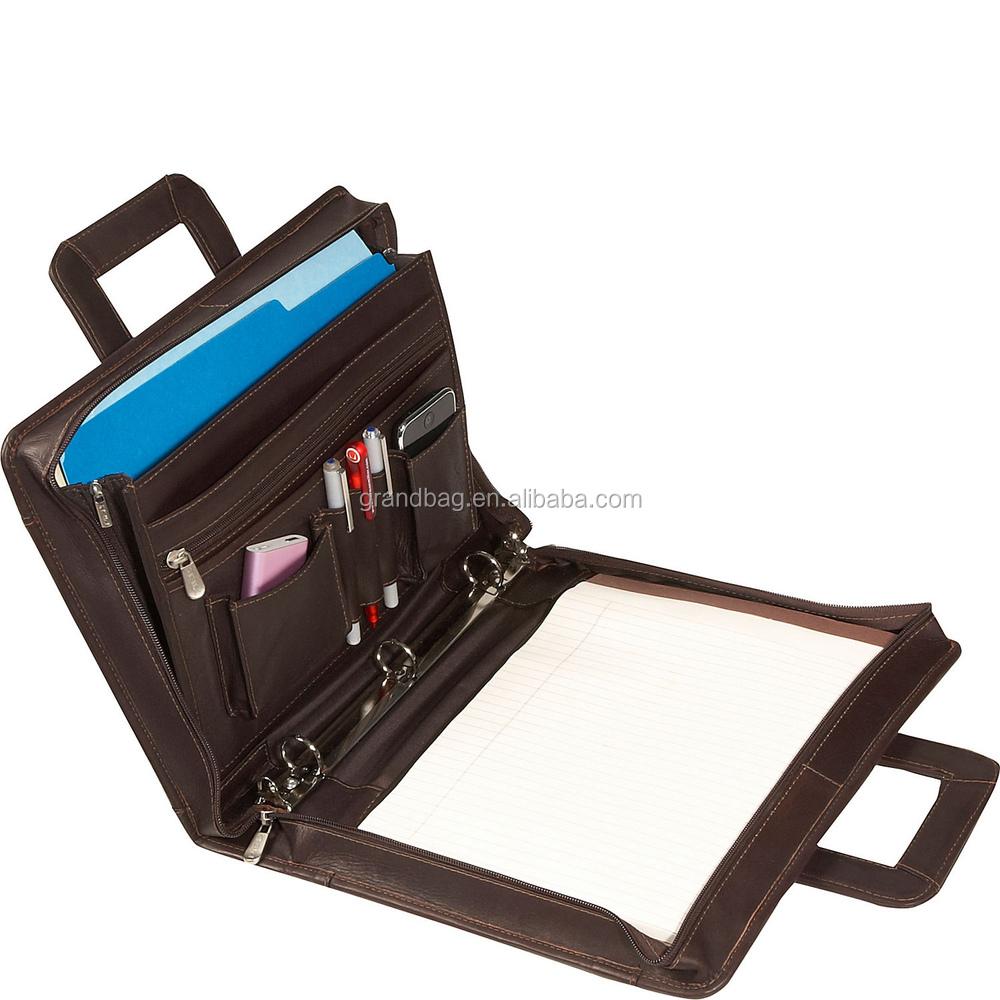 Zipper A4 Briefcase Pu Leather Portfolio Padfolio With