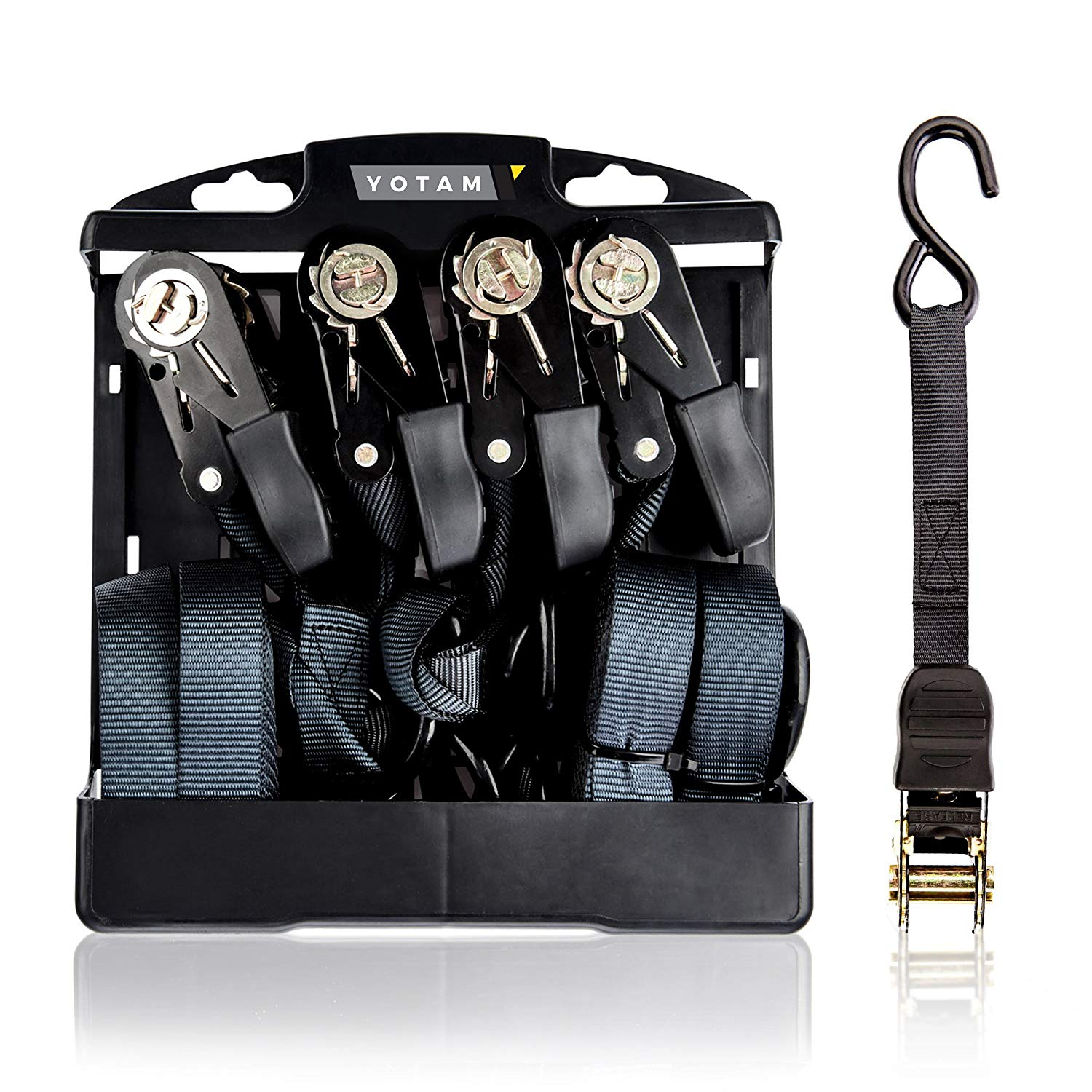 Yotam Black Cambuckle Ratchet Strap Tie Down Set, 4 Pack Case of 20 Ft. Long, 1 inch Wide Adjustable Cargo Straps with Coated Hooks - Perfect for Securing and Towing Pickup Vehicle Trucks, Motorcycle,