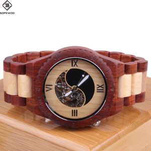 2018 OEM luxury wholesale mens branded custom logo automatic mechanical waterproof wood bamboo quartz wrist watch